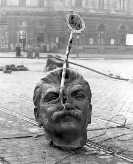 The head of the toppled Stalin statue